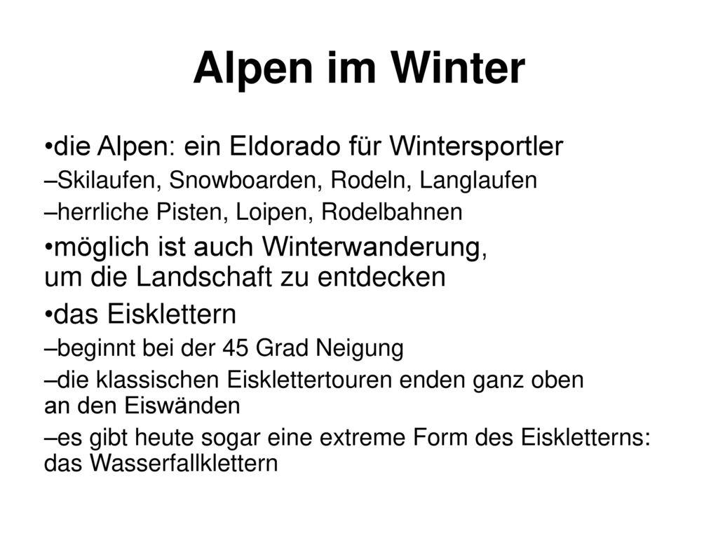 Alpen im Winter die Alpen: ein Eldorado für Wintersportler