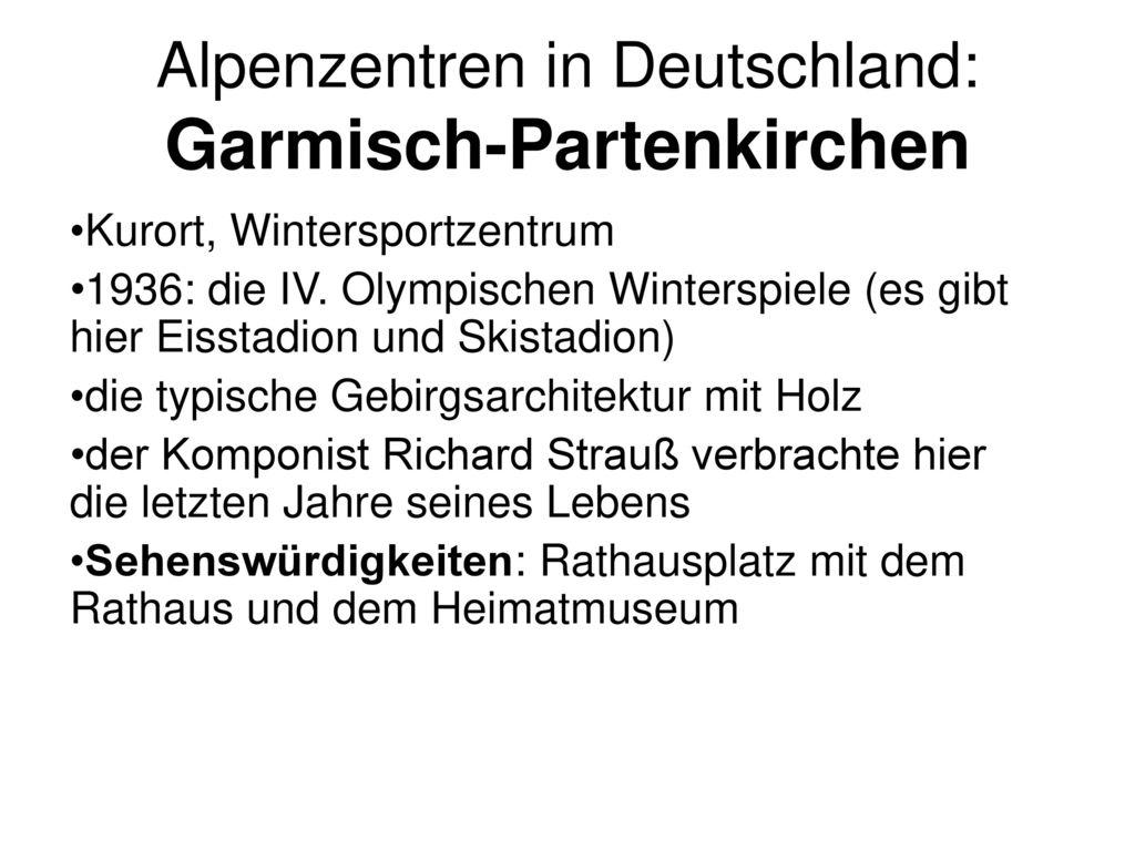 Alpenzentren in Deutschland: Garmisch-Partenkirchen