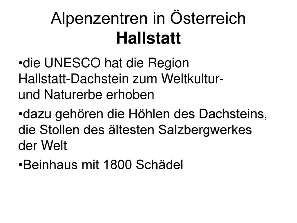 Alpenzentren in Österreich Hallstatt