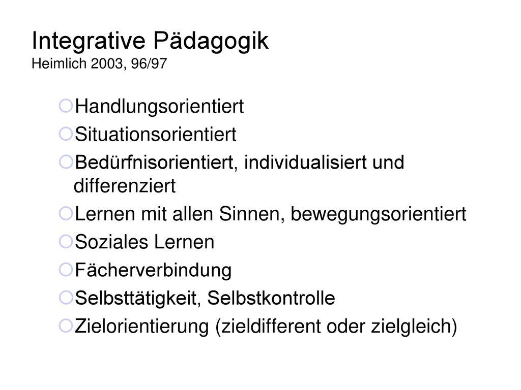 Integrative Pädagogik Heimlich 2003, 96/97