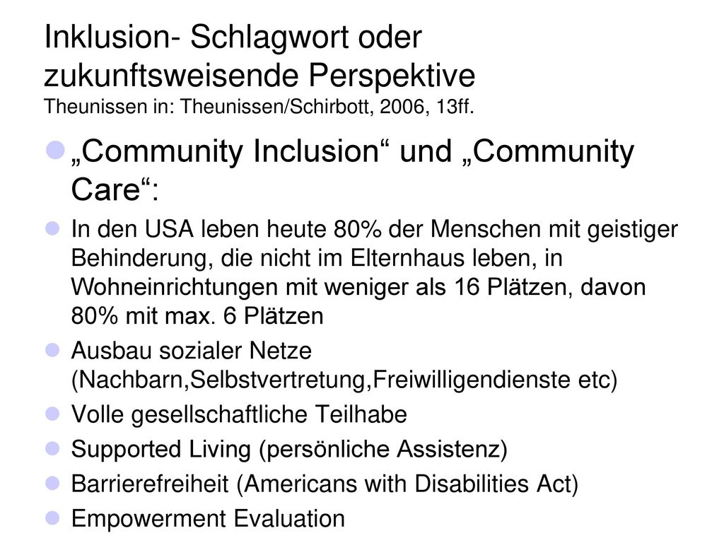 """Community Inclusion und ""Community Care :"