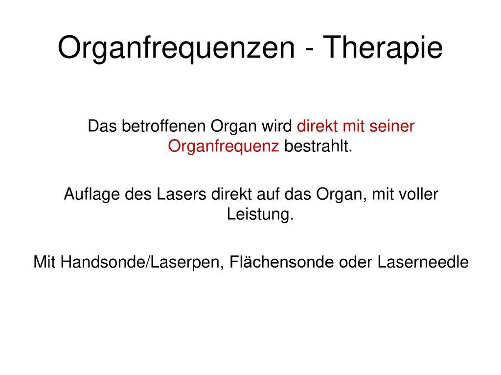 Organfrequenzen - Therapie