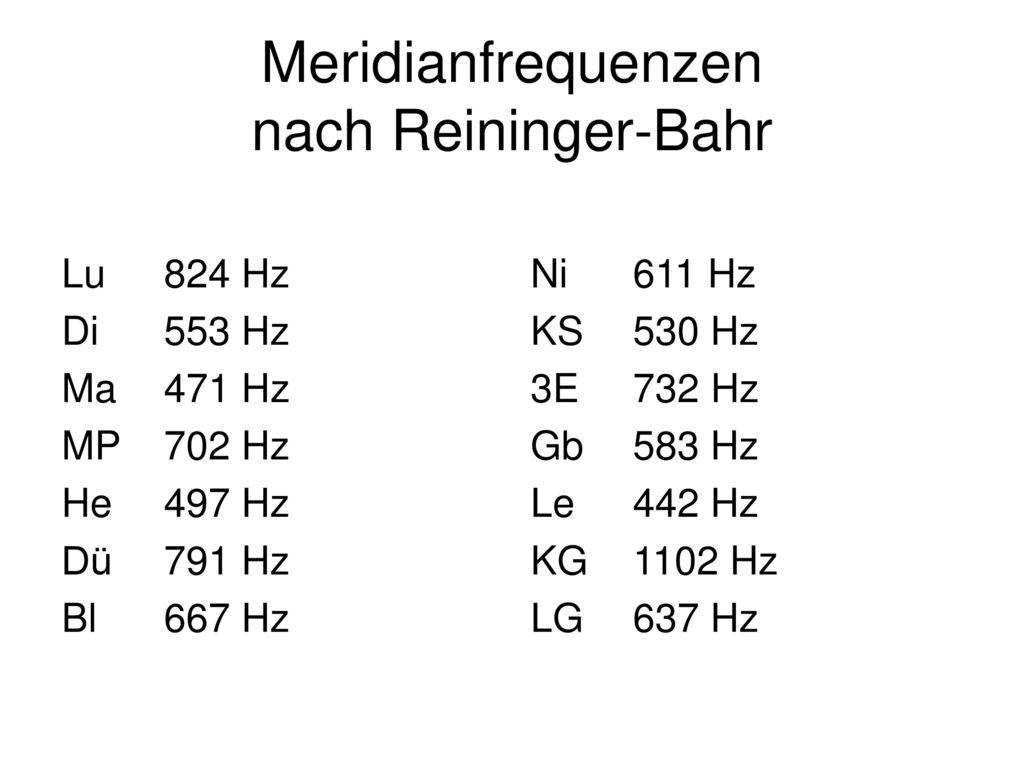 Meridianfrequenzen nach Reininger-Bahr
