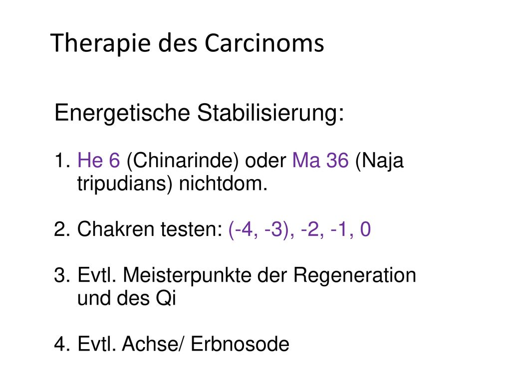 Therapie des Carcinoms
