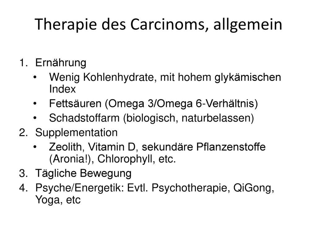 Therapie des Carcinoms, allgemein