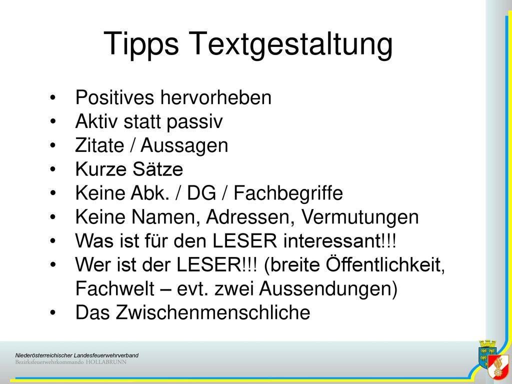 Tipps Textgestaltung Positives hervorheben Aktiv statt passiv