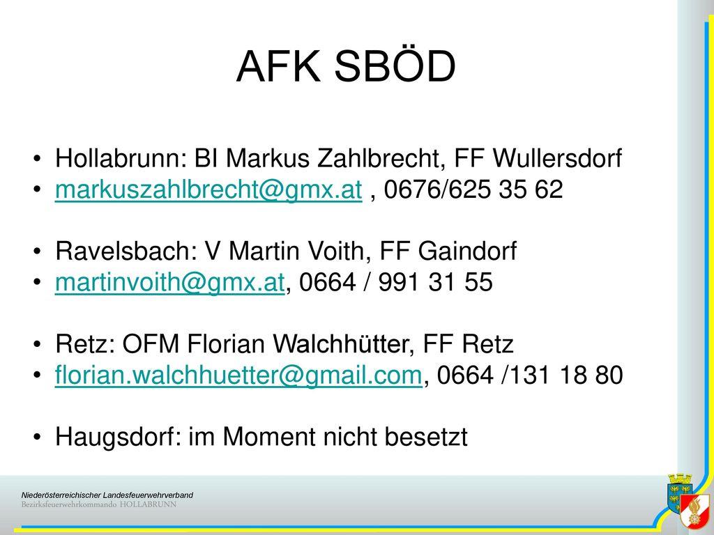 AFK SBÖD Hollabrunn: BI Markus Zahlbrecht, FF Wullersdorf