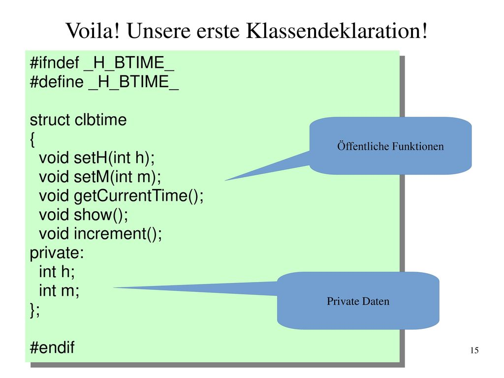 Voila! Unsere erste Klassendeklaration!