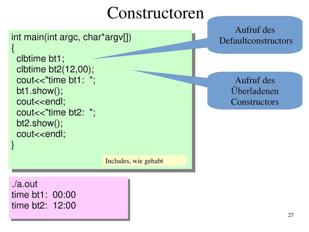 Constructoren Aufruf des Defaultconstructors