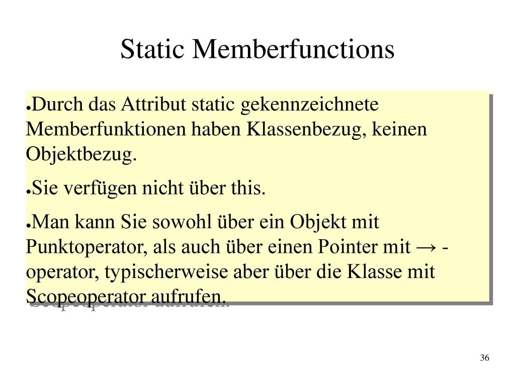 Static Memberfunctions