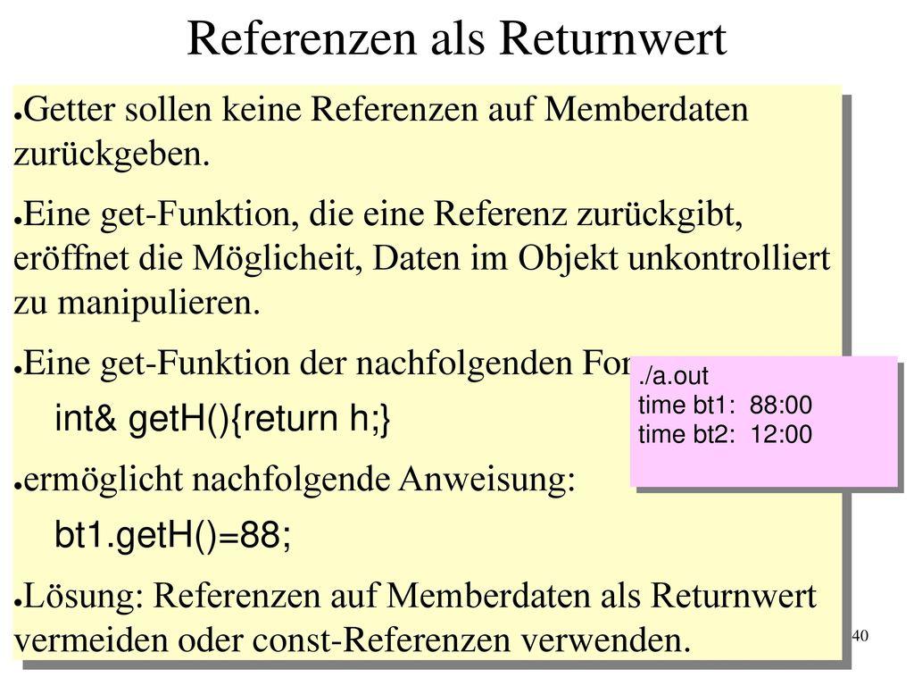 Referenzen als Returnwert