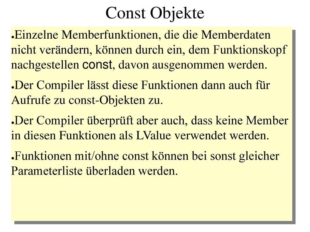 Const Objekte