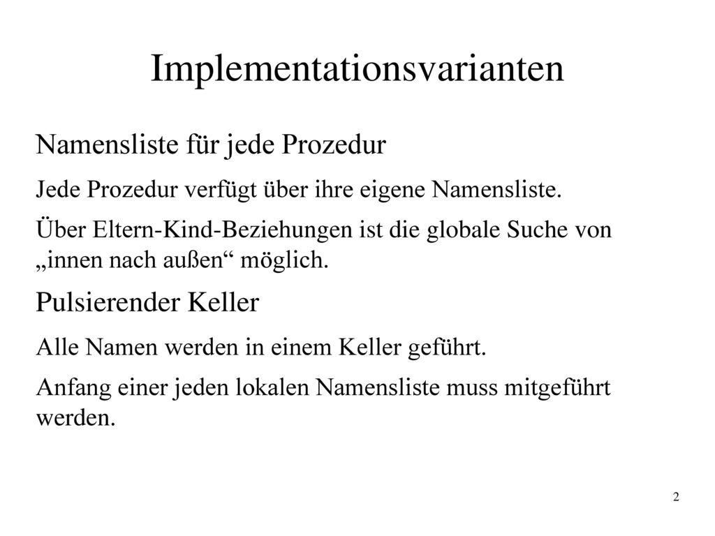 Implementationsvarianten