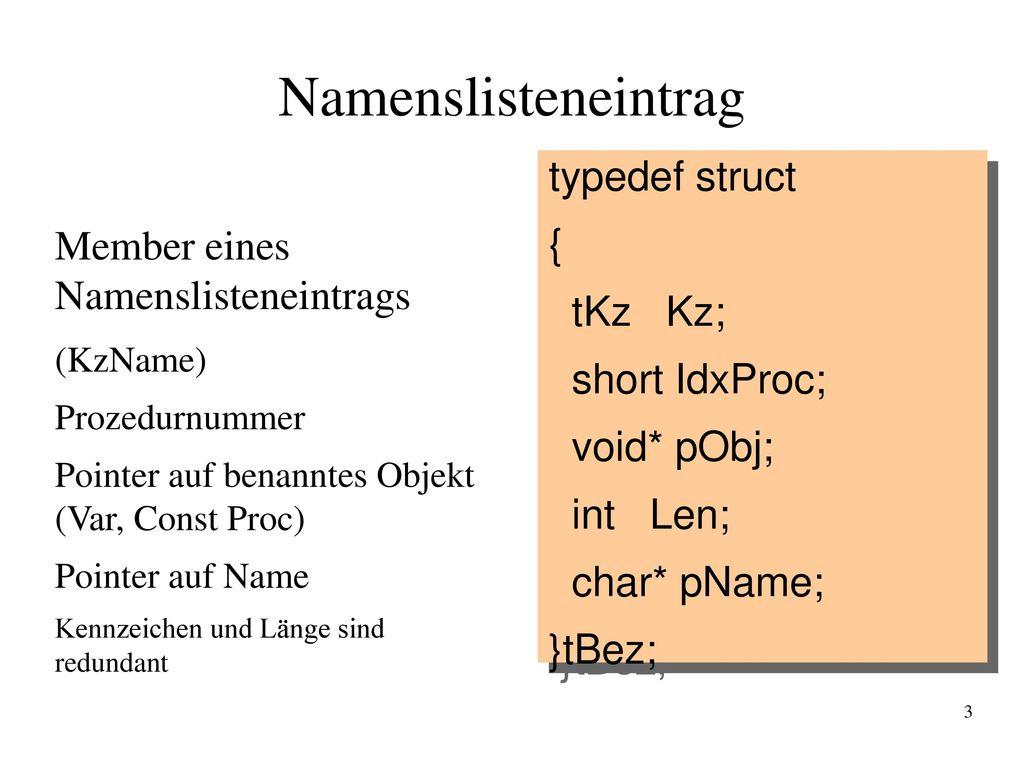 Namenslisteneintrag typedef struct { Member eines Namenslisteneintrags