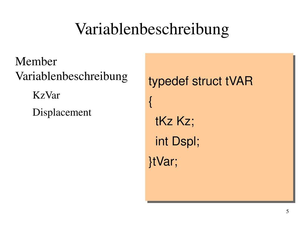 Variablenbeschreibung