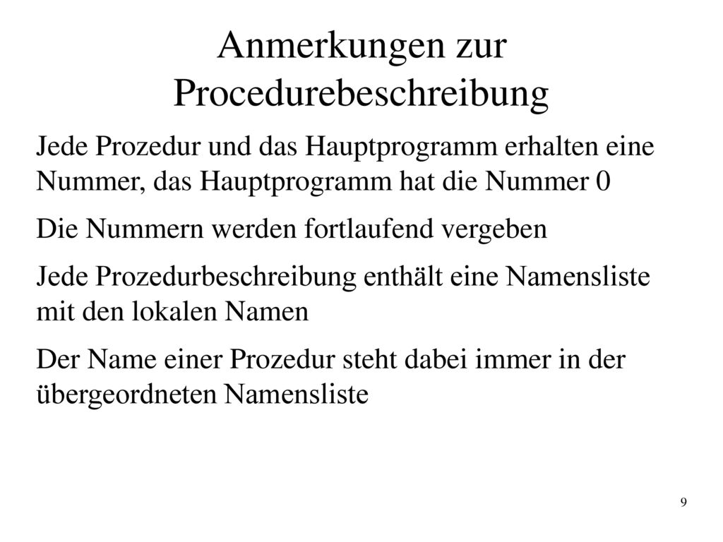 Anmerkungen zur Procedurebeschreibung