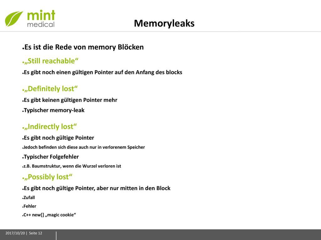 """Memoryleaks Es ist die Rede von memory Blöcken """"Still reachable"""