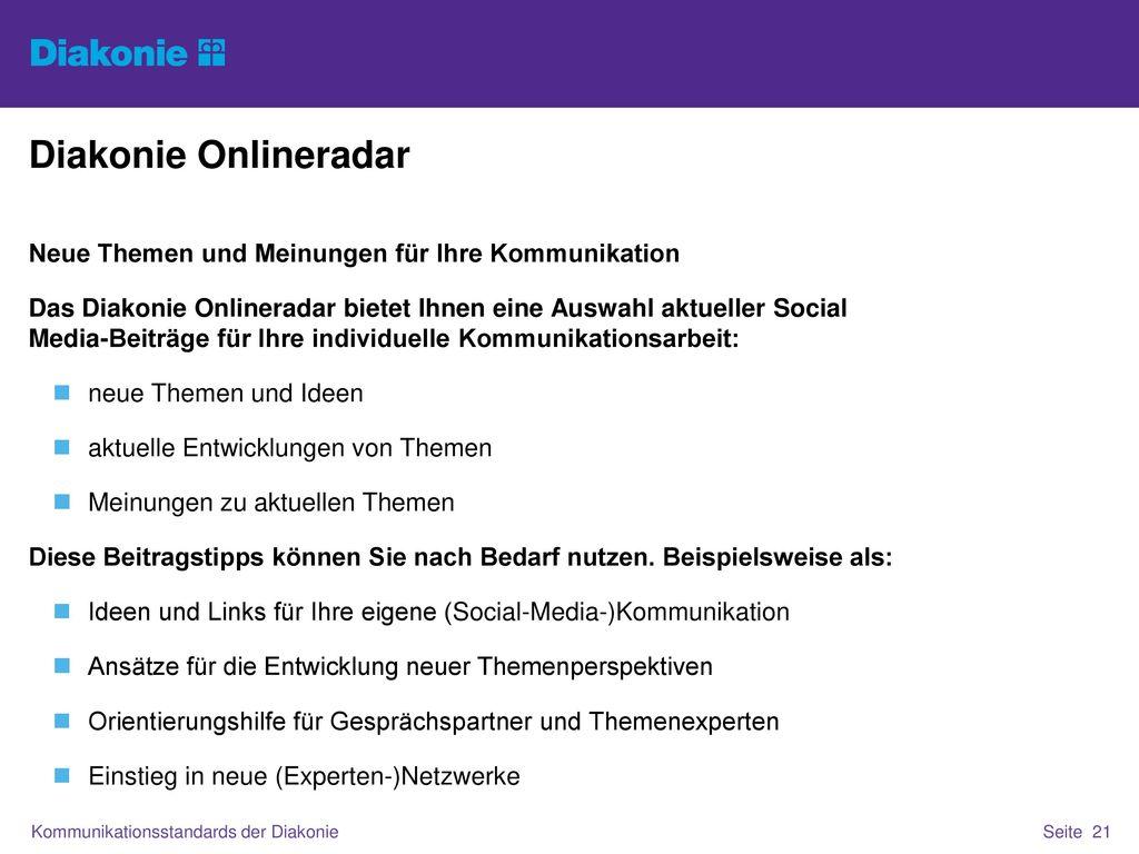 Diakonie Onlineradar Neue Themen und Meinungen für Ihre Kommunikation