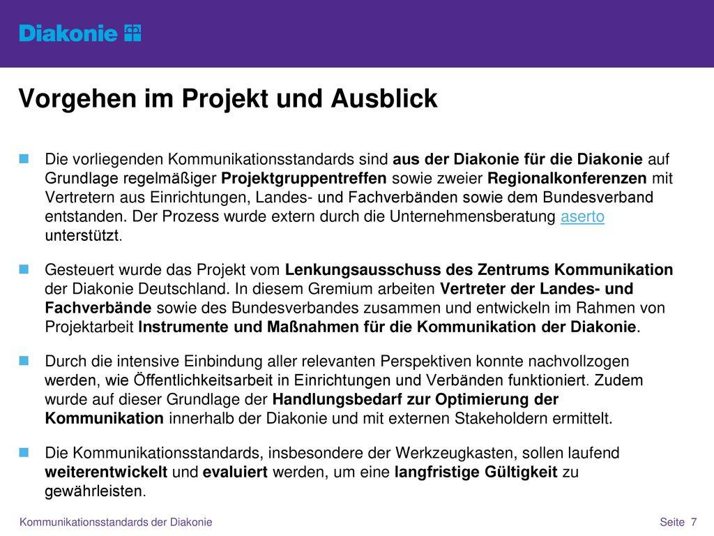 Vorgehen im Projekt und Ausblick