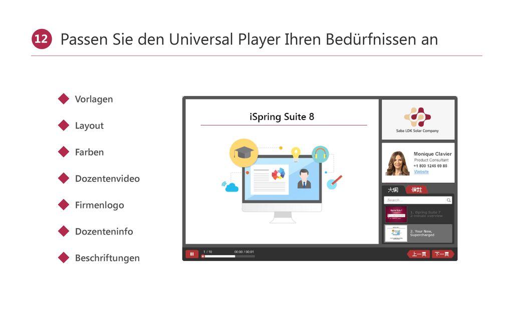 Verwenden Sie den Video-Lecture-Player für Vorträge
