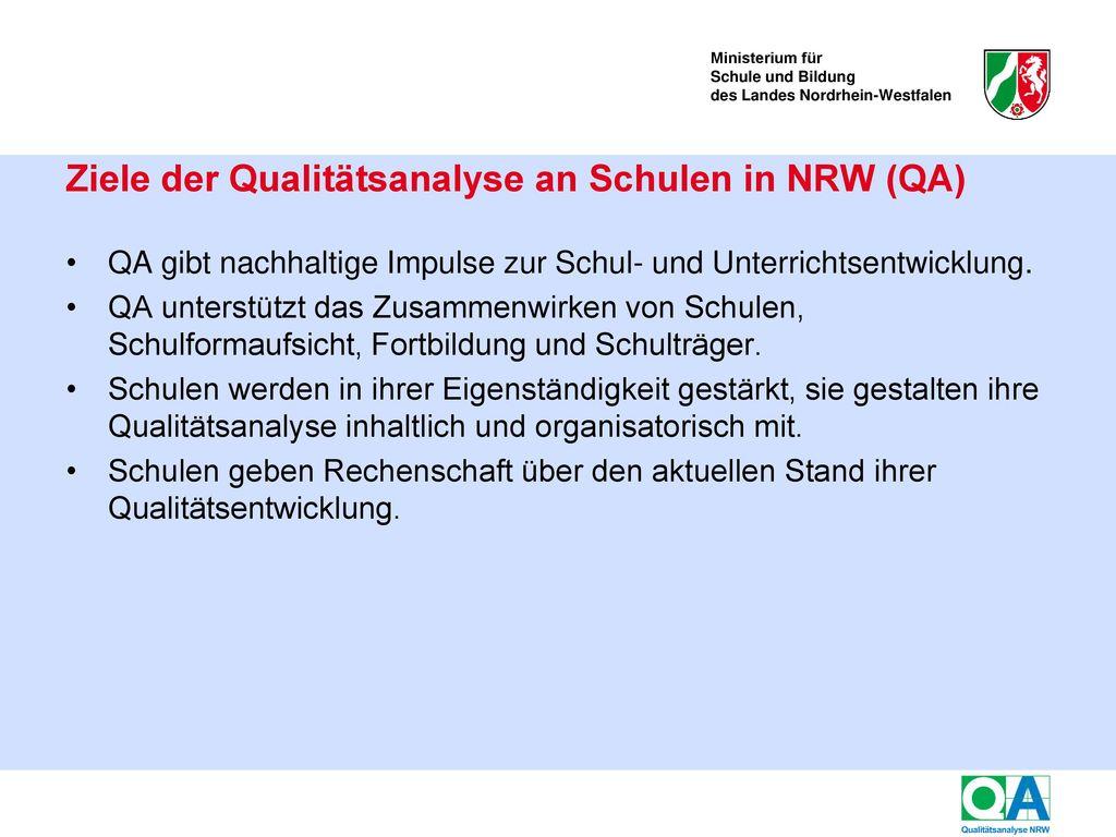 Informationen zur Qualitätsanalyse in Nordrhein-Westfalen
