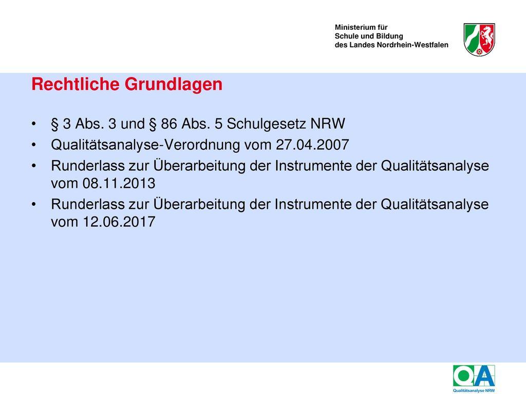 Ziele der Qualitätsanalyse an Schulen in NRW (QA)