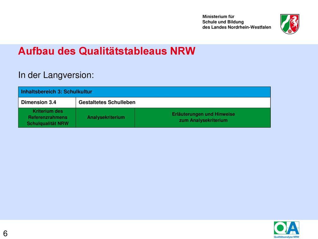 Das Qualitätstableau NRW