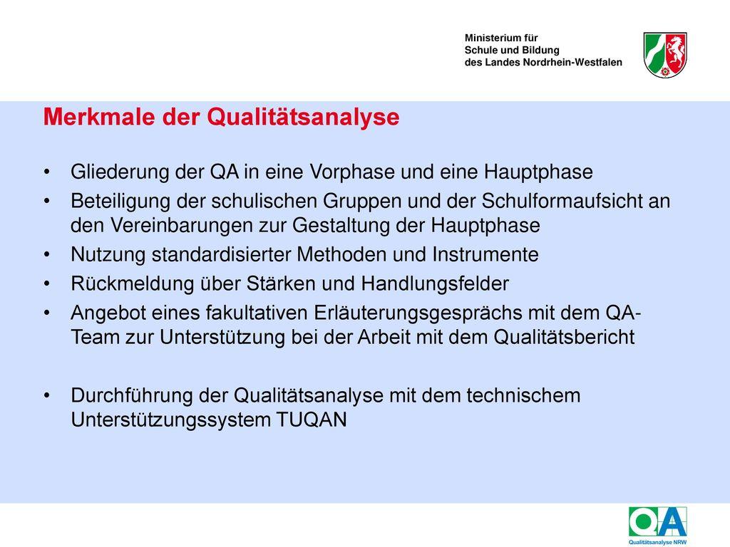 Aufbau des Qualitätstableaus NRW