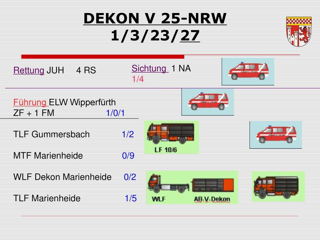 DEKON V 25-NRW 1/3/23/27 Sichtung 1 NA 1/4 Rettung JUH 4 RS