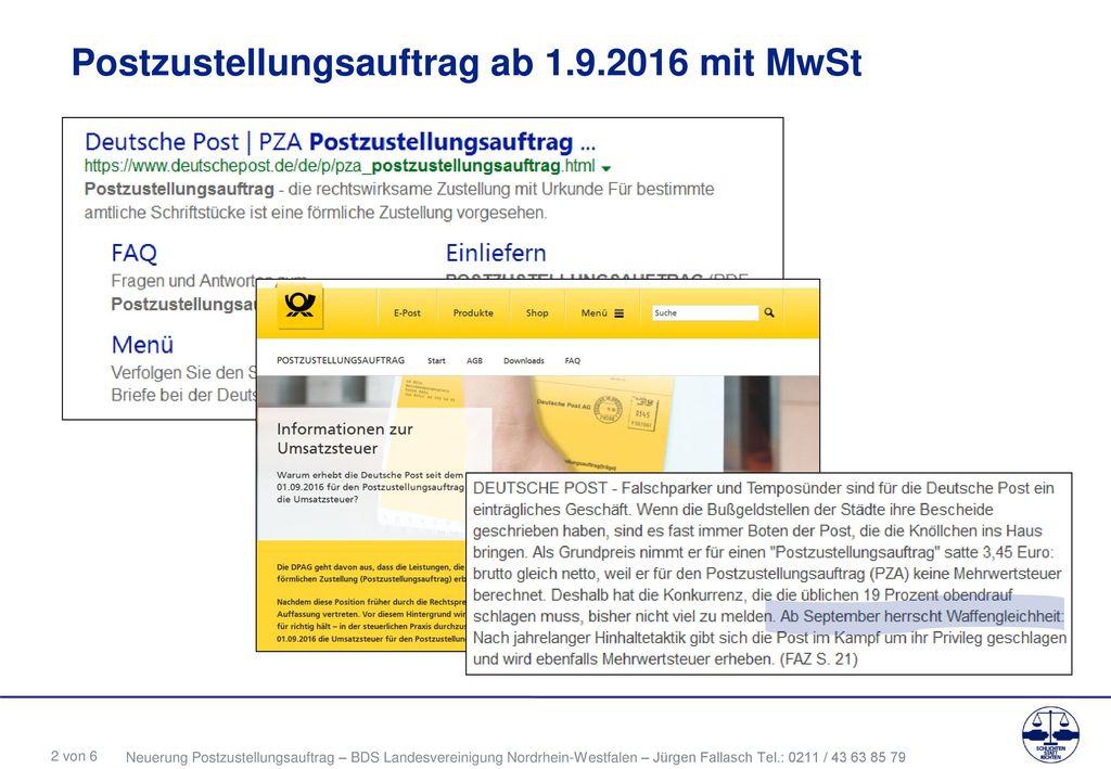 Postzustellungsauftrag ab 1.9.2016 mit MwSt
