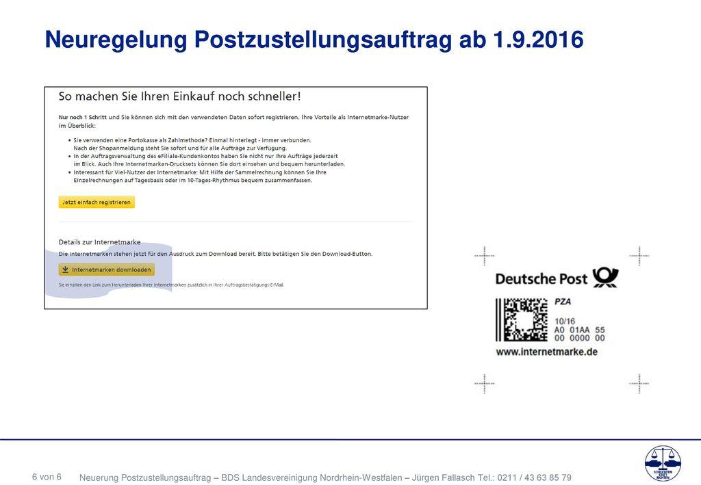 Neuregelung Postzustellungsauftrag ab 1.9.2016