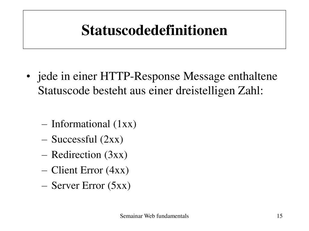 Statuscodedefinitionen