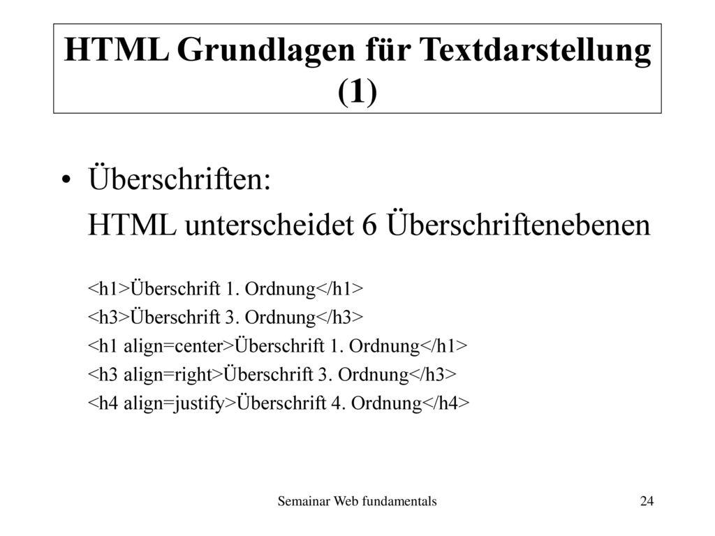 HTML Grundlagen für Textdarstellung (1)