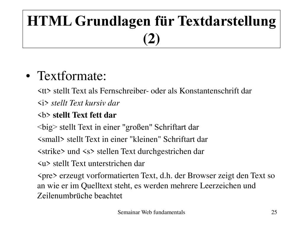 HTML Grundlagen für Textdarstellung (2)