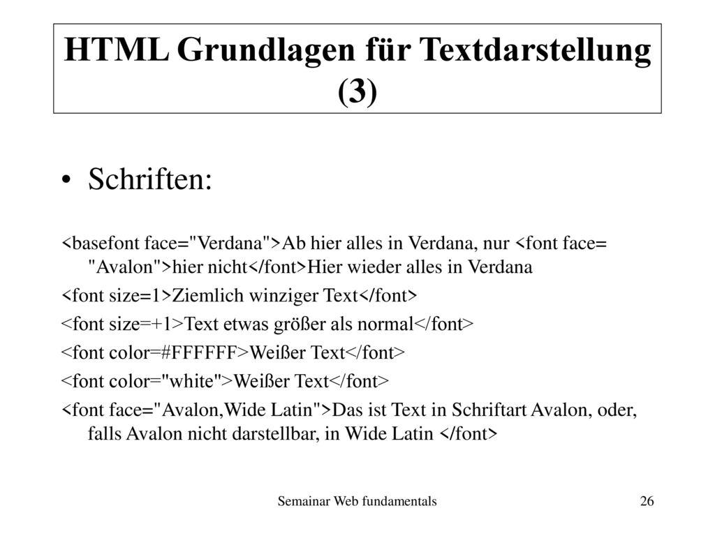 HTML Grundlagen für Textdarstellung (3)