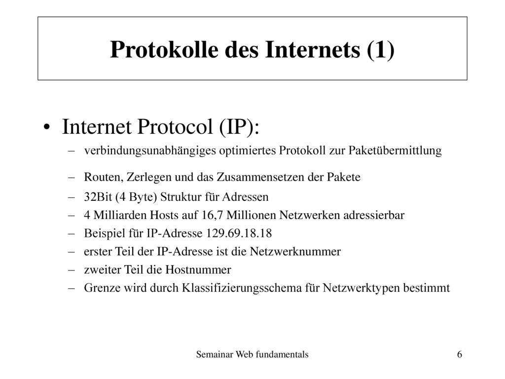 Protokolle des Internets (1)