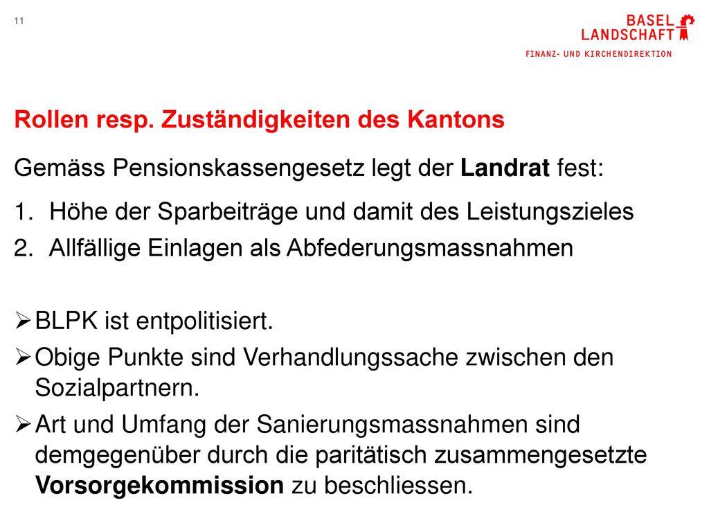 Rollen resp. Zuständigkeiten des Kantons