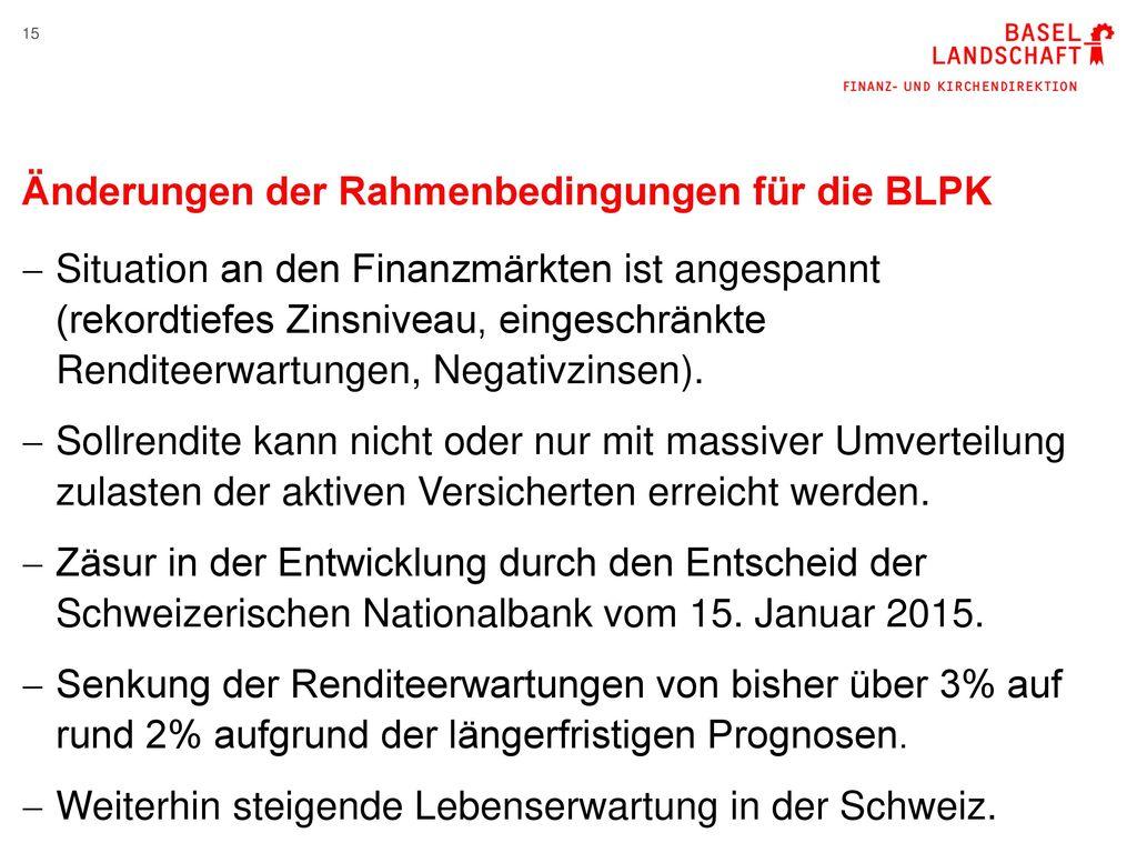 Änderungen der Rahmenbedingungen für die BLPK