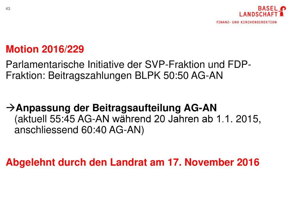 Motion 2016/229 Parlamentarische Initiative der SVP-Fraktion und FDP- Fraktion: Beitragszahlungen BLPK 50:50 AG-AN.