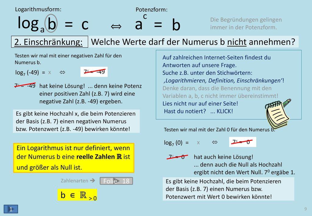 SONDERFÄLLE logab = c ac = b a = b log2 2 = , denn 3 log3 (1) =