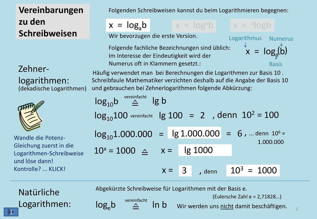 Übungs-Aufgaben log28 = 3 , denn 23 = 8 ( ) ( ) ( ) ( )