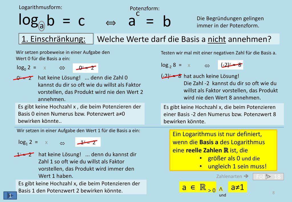 log b = c a b = a c ⟺ 2. Einschränkung:
