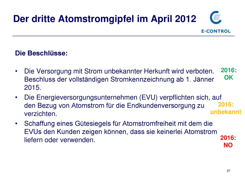 Der dritte Atomstromgipfel im April 2012