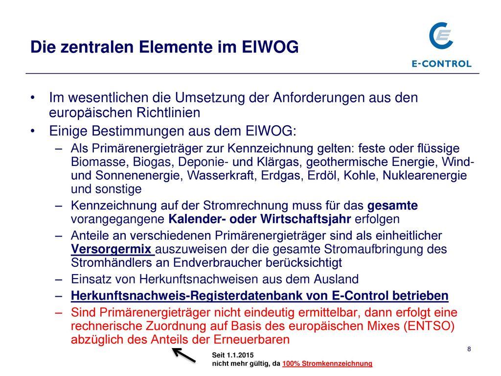 Die zentralen Elemente im ElWOG
