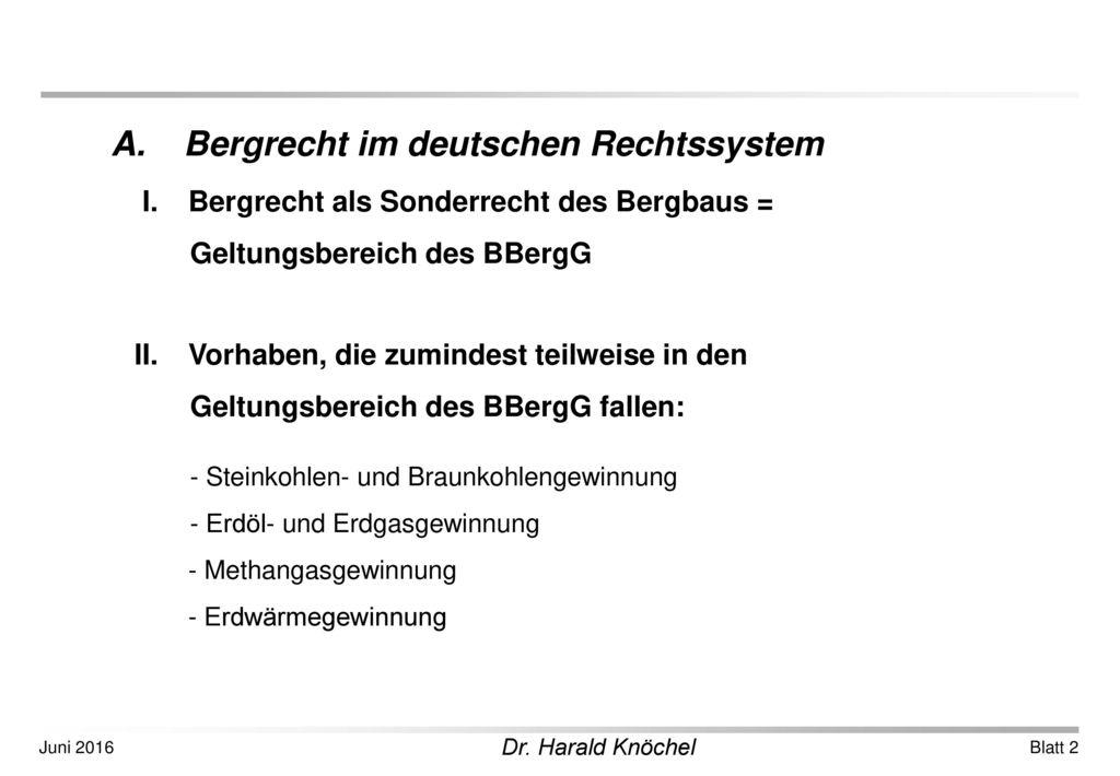 A. Bergrecht im deutschen Rechtssystem