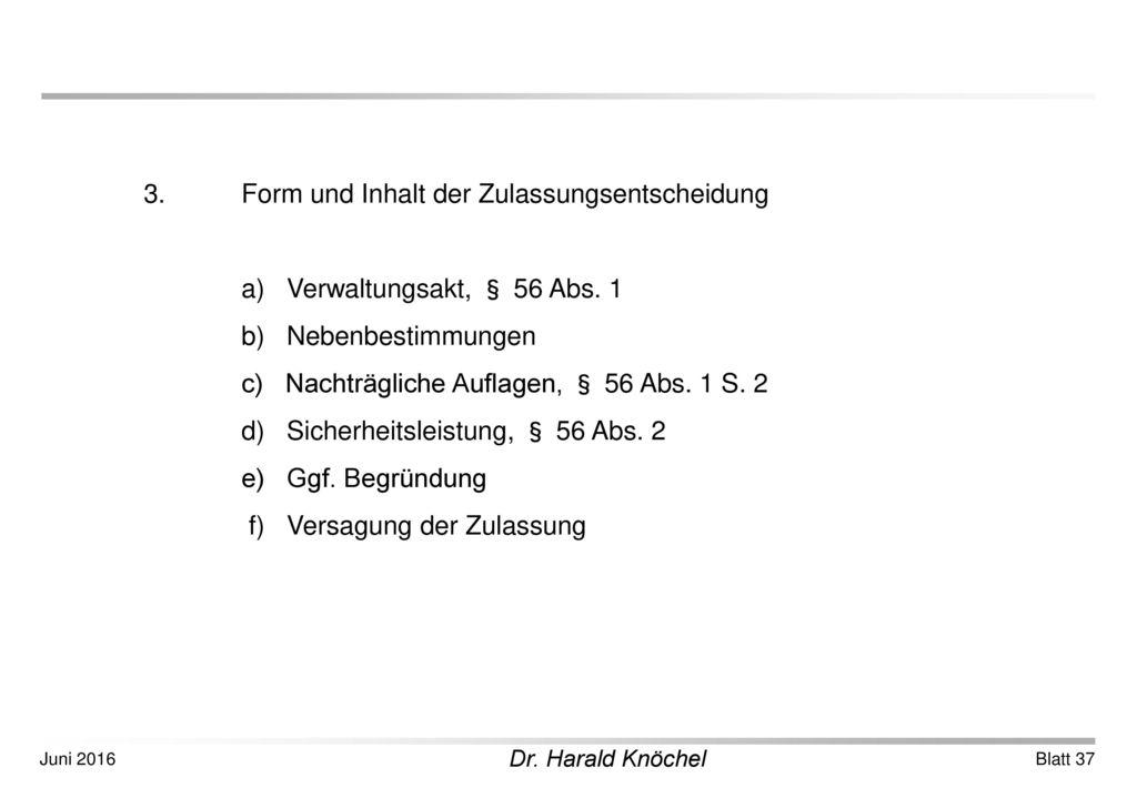3. Form und Inhalt der Zulassungsentscheidung