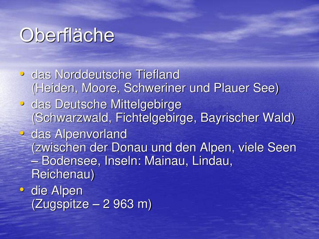 Oberfläche das Norddeutsche Tiefland (Heiden, Moore, Schweriner und Plauer See)