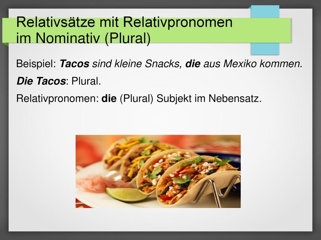 Relativsätze mit Relativpronomen im Nominativ (Plural)