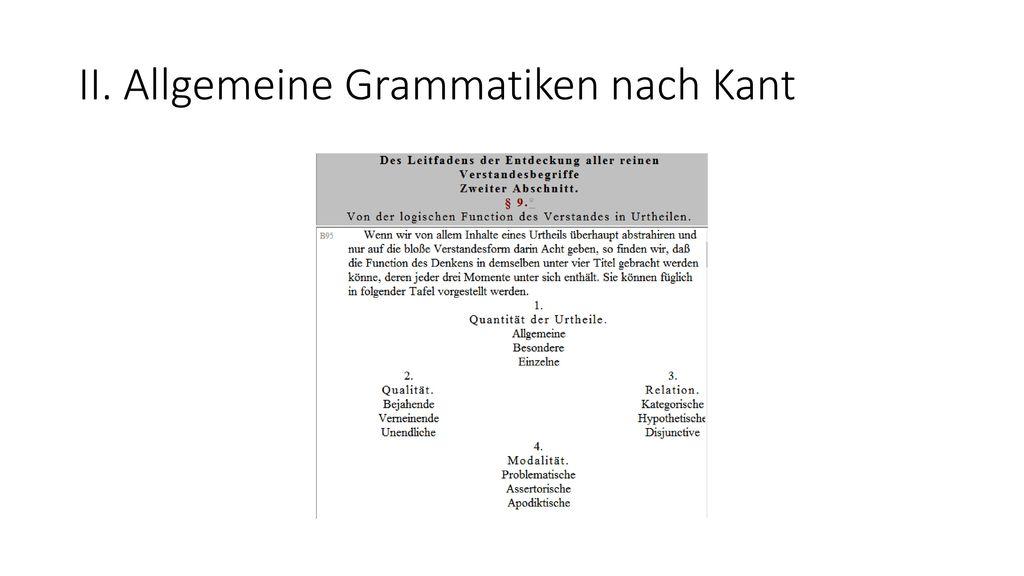 II. Allgemeine Grammatiken nach Kant
