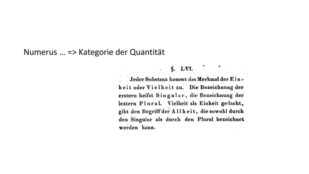 Numerus … => Kategorie der Quantität